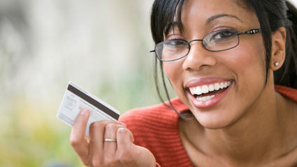 Smiling women with LANECO card